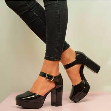Patent Ankle Strap Block Heel Platforms