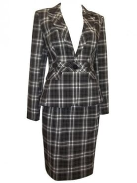 NAM & Co Black/White Single Breasted Checked Skirt Suit
