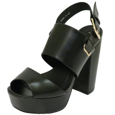 Ladies Ankle Platform Chunky High Block Sandal-Black