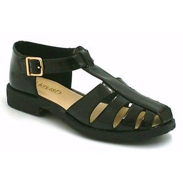 Krush Chopout Detailed T-Bar Crepe Sole Palm Sandal - Black Patent