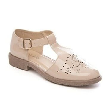 Krush Laser-cut Detailed T-Bar Crepe Sole Palm Sandal - Nude Patent