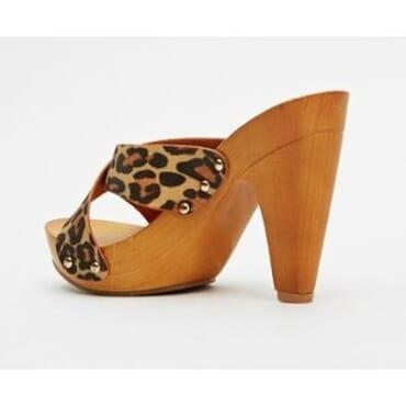 Wooden Leopard Print Clogs