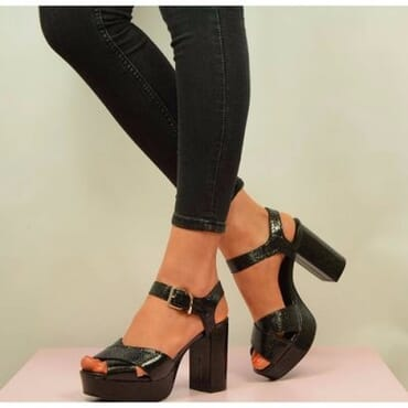 Sparkle Snake Style Block Platform High Heel
