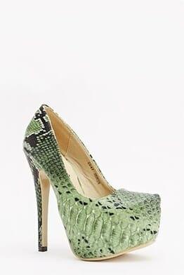 Sergio Todzi Textured Contrast Mock Croc Platform Heels
