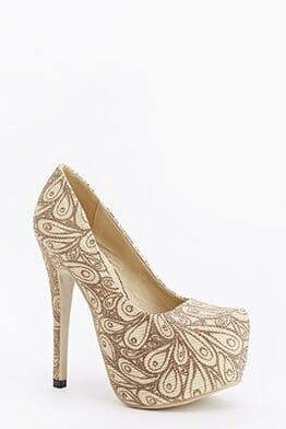 Sergio Todzi Paisley Lurex Platform High Heels Shoe