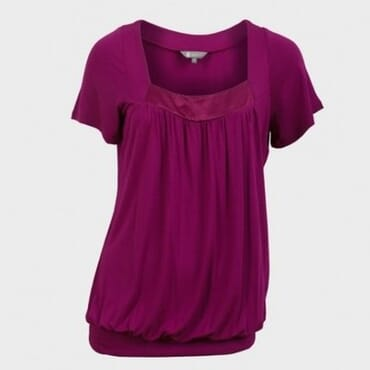 Bubble Hem Satin Neck Ladies Top - Cerise