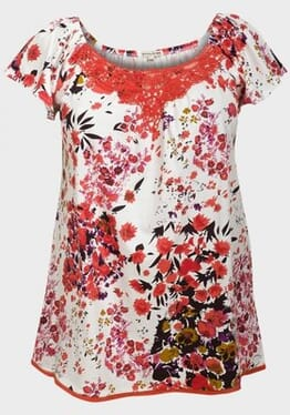 Ladies Plus Size Top - Floral White