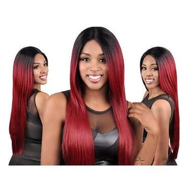 Sensationnel Stocking Cap Quality Custom Lace Wig - Yaki 30- Color1B/Burgundy