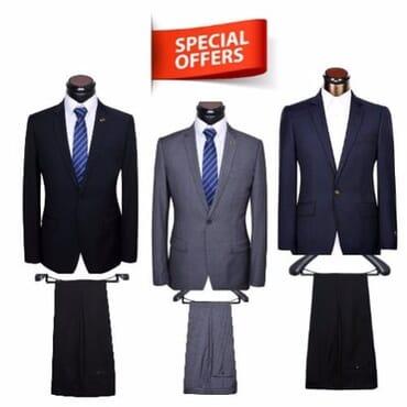 Men's Corporate Suit Set - Black, Blue & Grey