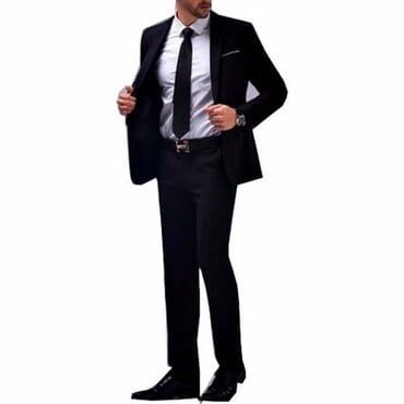 Die Caprie Authentic Men's Suit - Black+neck tie
