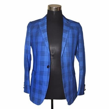 Smart Men's Formal Check Blazer - Blue