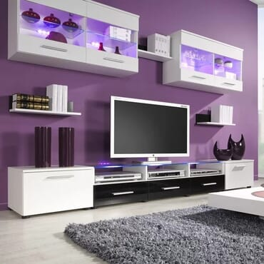 Esy TV Stand Entertainment Center (White/Black)