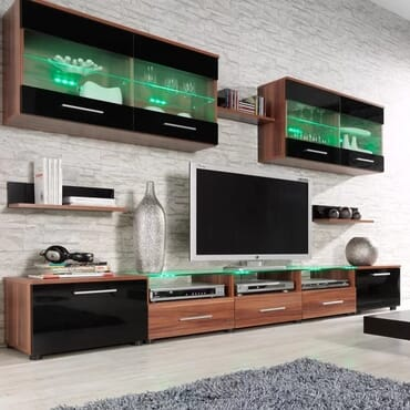 Esy TV Stand Entertainment Center (Plum/ Black)