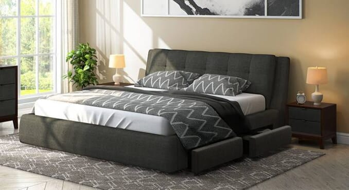 Easylife Esisi Upholstered Storage Bed Charcoal grey