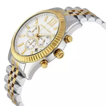 Michael Kors Lexington Chronograph White Dial Two-tone Men's Watch