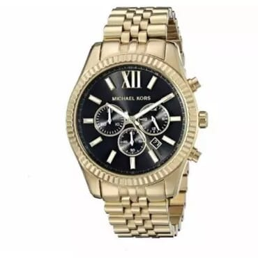 Michael Kors Lexington Chronograph Black Dial Watch - Gold