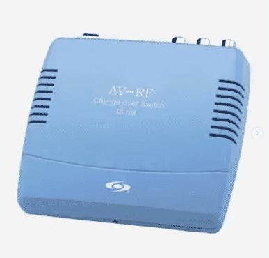 Blue RF Modulator AV-RF AV-TV Converter RCA Ant Input To F Type Coax Output DVD