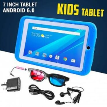 Atouch 7-Inch 1GB RAM +16GB Storage Android 6.0 K89 Children Tablet (Pre-Installed Educational Apps)+ Proof Case- BLUE