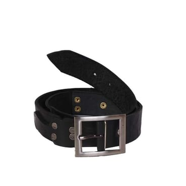 Studded Engraved Leather Belt - Black