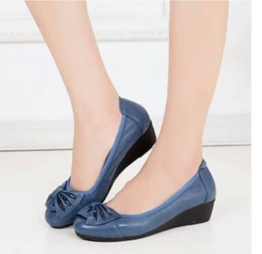 Fashion Women Office Bow Leather Foldable Shoes - Blue