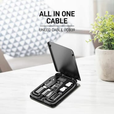 Inbase Special Edition Multifunctional Box - Multi Data Cables (Micro USB, Lightning, Type C), Card Slot, Sim Kit and Phone Cradle