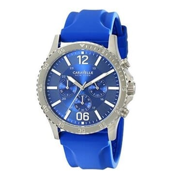 Caravelle Men's Chronograph Blue Strap And Dial With Silver Case