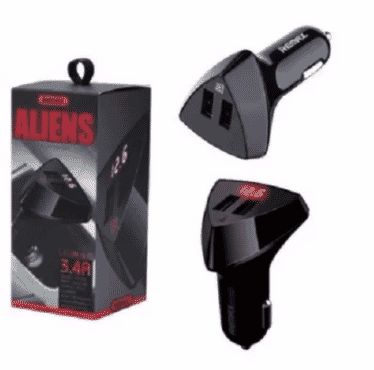 Remax Aliens 3.4 Amps Dual USB Car Charger With LED Indicator For Car Battery Level