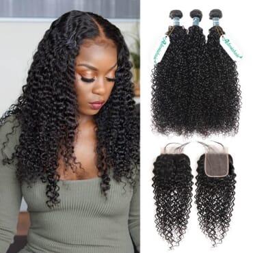 Kinky Curly Virgin Hair Kinky Hair With Closure 16 Inches