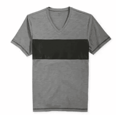 INC International Concept Faux Leather Block Stripe Cosmo T-Shirt - Grey