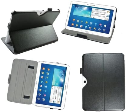 Luxury Cover for Samsung Galaxy Tab 3 10.1 Inch P5200/P5210/P5220-16GB (Wi-Fi/3 g/4 g)-Style Ultra-Slim Leather case with stand and Smart Cover-Protective case Cover for Samsung Galaxy Tab 3 10.1 GT-P5200/GT-P5210/GT-P5220 black/black-discovery