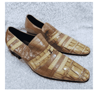 Italian Men's Croc Leather Loafer + A Free Happy Socks