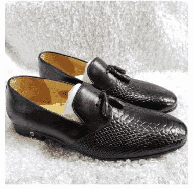 Men's Croc Leather Tassel Loafer + A Free Happy Socks