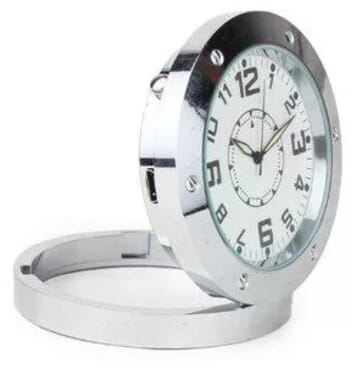 Round Shaped Surveillance Spy Clock With Camera- Silver
