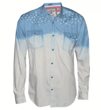 BLUE INC Men's Denim Star Print Shirt - Sky Blue