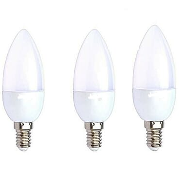 Universal Candle Bulb 3W LED E14 Small Screw (Thread) Base - White - 3 Pack