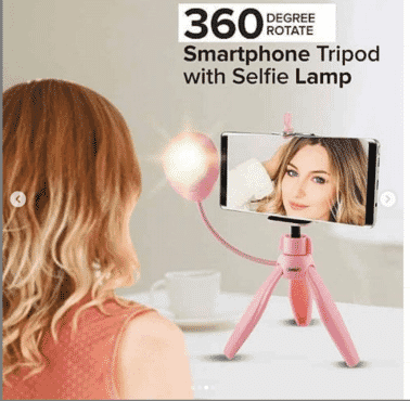 360 Degree Rotate Mini Smartphone Tripod with Selfie Lamp, Pink