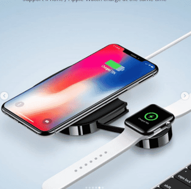 Wireless Charger, 2 in 1 Wireless Charging Pad, Qi Fast Wireless Charger for iPhone 11/11 Pro Max/XR/XS Max/XS/X/8/8P, Airpods 2/Pro, iWatch Series 5/4/3/2, Wireless Charging Station