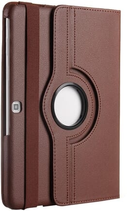 Galaxy Tab 4 10.1 Case, Desoon 360 Degree Rotating Folio Smart PU Leather Cover Case for Samsung Galaxy Tab 4 10.1 SM-T530 T531 T535 (Brown)