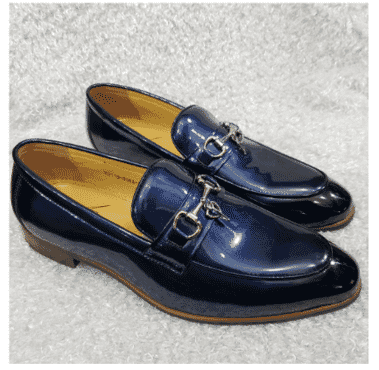 Men's Patent Leather Horse-Bit Loafer + A Free Happy Socks