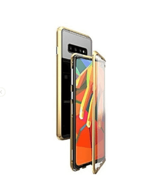 "EabHulie Galaxy S10 Plus Case, 360° Full Body Transparent Tempered Glass with Magnetic Adsorption Metal Bumper Case Cover for Samsung Galaxy S10 Plus 6.4"" Red Black"