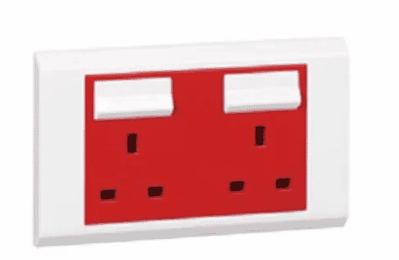 Legrand BS Socket Outlet- 2 Gang SP Switched - Red Cover + Neon - 13 A - 250 V~ - 617049