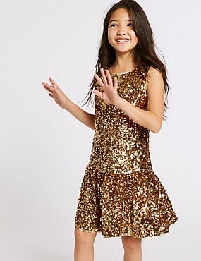 M&S Autograph Girls Drop Waist Sequin Embellished Dress