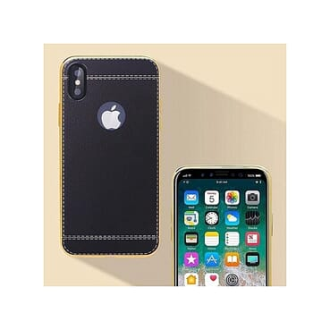IPhone X Case Luxury Leather Back Cover Case-BLACK
