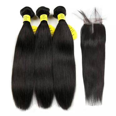 Ikachi Straight Hair Bundles With Closure Human Hair 3 Bundles With Closure Brazilian Hair Weave Bundles Non Remy Hair Extension