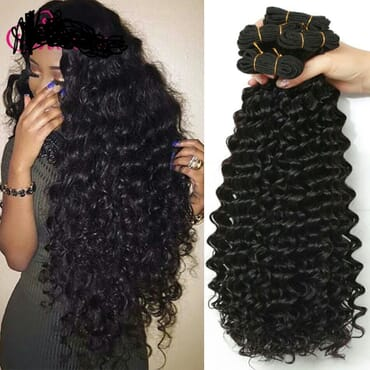 Deep Wave Bundles With Closure Ikachi Hair With Closure Human Hair Bundles With Closure Brazilian Hair Weave Bundles With Closure