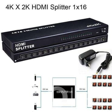 16 Ports HDMI Splitter Distribution Amplifier Professional HDMI Powered for Full HD 1080p
