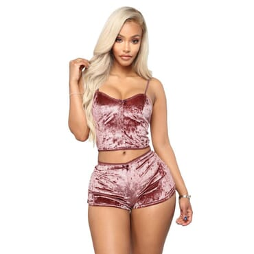 Hot Women 2 piece Set Velvet Sleepwear