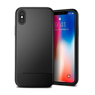 IPhone X Case Carbon Fiber Back Cover Case - Black