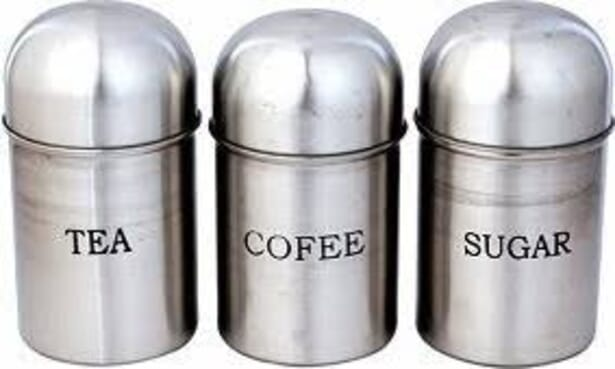 3 Pcs Stainless Coffee, Tea & Sugar Canister Set