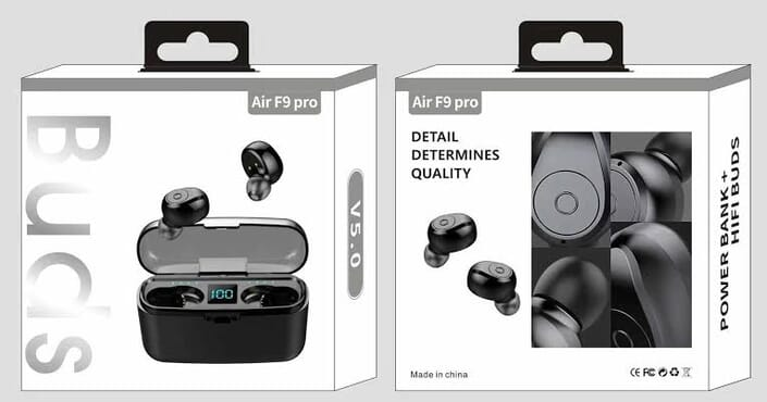 Air F9 Pro Bluetooth Earbuds With Powerbank For Mobile Phones